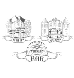 Set and Badges Whiskey vector image
