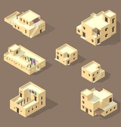 Set arab house isolated on sandy vector