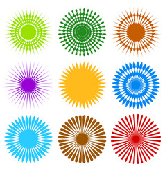 Set of 9 different element with random radial vector