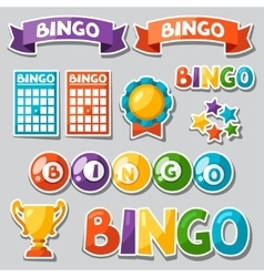 Set of bingo or lottery game with balls and cards vector