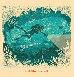 silhouette of scuba driver swiiming deep vector image