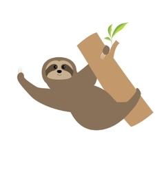 Sloth Tree branch Cute cartoon character Wild vector image