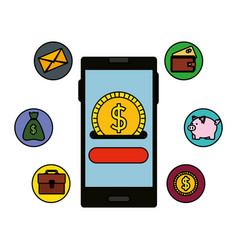 Smartphone with coin money dollar and ecommerce vector