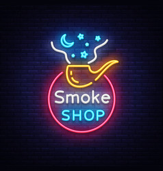 smoke store logo neon cigarette shop neon vector image