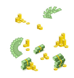 Stacks piles fan of dollar banknotes and coins vector
