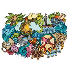 summer hand drawn cartoon doodles funny travel vector image