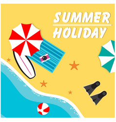 Summer holiday umbrella chair oblique beach backgr vector