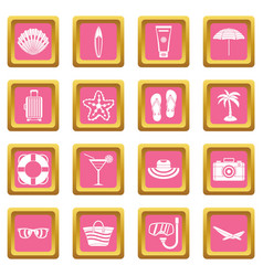 Summer rest icons pink vector