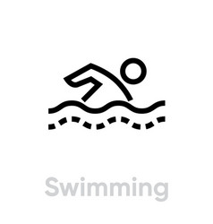 swimming sport icons vector image