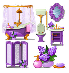 the interior of the bathroom in purple color vector image