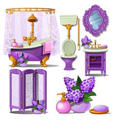 The interior of the bathroom in purple color vector