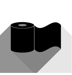 toilet paper sign black icon with two vector image