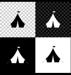 tourist tent with flag icon isolated on black vector image