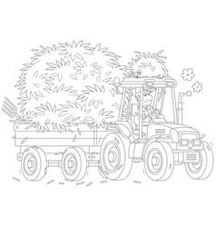 Tractor carrying hay vector
