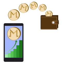 Transfer monero coins from phone in the wallet vector