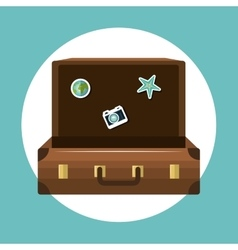 travel suitcase open vacation design vector image