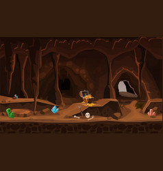 Treasure cave with chest gold coins gems concept vector