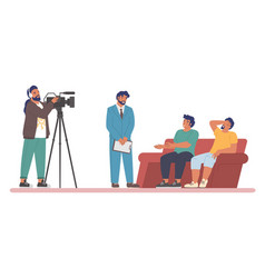 tv talk show host interviewing guests sitting vector image