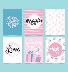 valentine s day card set - hand drawn flat style vector image