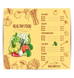 Vegetables and cutlery on menu with prices vector