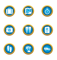Wander icons set flat style vector