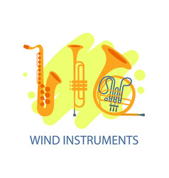 wind musical instruments banner music festival vector image