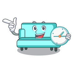 with clock sofa character cartoon style vector image
