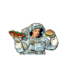 woman astronaut eats cola hot dog and burger vector image