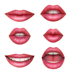 woman realistic mouth beauty sexy lips happy vector image