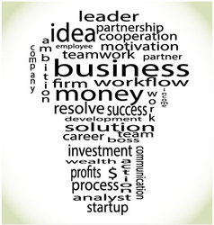 Wordcloud business lightbulb vector