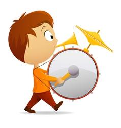 cartoon band drummer vector image vector image