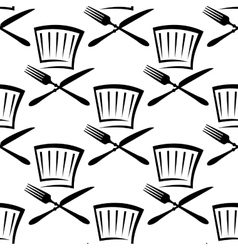 Chef hat with cutlery seamless pattern vector image vector image
