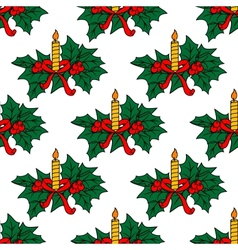 Christmas candles seamless pattern vector image