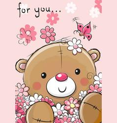 cute teddy bear with flowers vector image