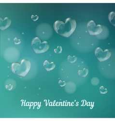 happy valentines day Heart-shaped soap bubbles vector image vector image