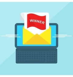 laptop with envelope winner vector image vector image