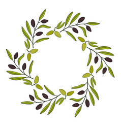 olive wreath with hand drawn branch vector image vector image
