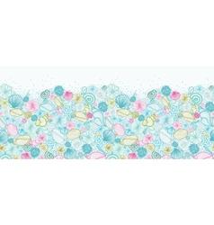 Seashells line art horizontal seamless pattern vector image