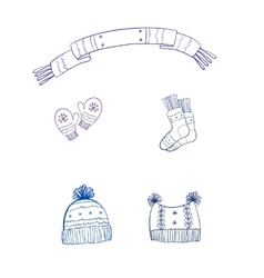 set winter clothing vector image