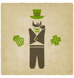 St Patrick man with beer and shamrock vector image vector image