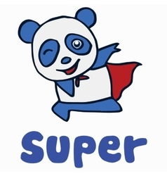Super panda for t-shirt design vector image vector image