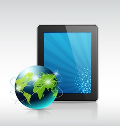 tablet and blue globe vector image vector image
