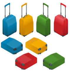 travel suitcases flat isometric vector image vector image