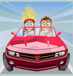 boy and girl riding in a car at high speed vector image vector image