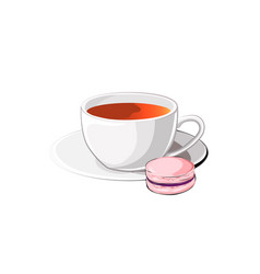 cup of tea with macaron vector image