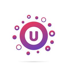 letter u with dots logo design vector image