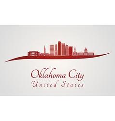 Oklahoma city v2 skyline in red vector