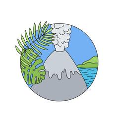 volcano doodle logo vector image