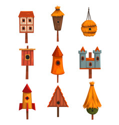 birdhouse set bird houses nesting boxes cartoon vector image