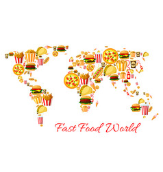 fast food world map cartoon poster design vector image vector image